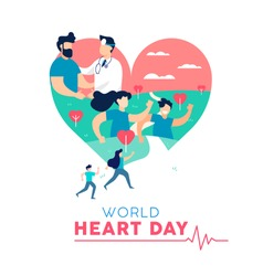 World Heart Day illustration concept, health care awareness. People running for disease prevention and doctor with patient. EPS10 vector.
