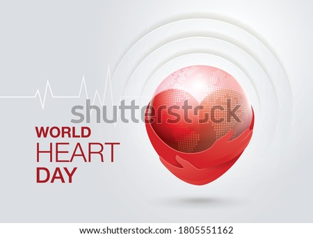 World heart day illustration concept. Hugging Heart shape, Hands Holding A World Vector, Red heart with hand embrace, Hug the Globe, Happy Earth Day, Abstract heartbeat Background, Heart wave Sign