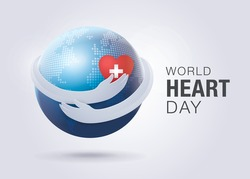 World heart day illustration concept. Hugging World, Hands Holding A Heart Vector, Red heart with hand embrace, Hug the Globe, Happy Earth Day