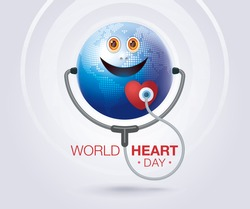 World heart day illustration concept, Smiling happy globe world with Stethoscope Sign and Red heart, Happy Earth Day, Abstract heartbeat Background,