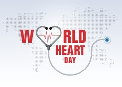 World heart day illustration concept. Stethoscope with Heart Shape, Heart wave Sign, Hug the Globe, Happy Earth Day, Abstract world map Background,
