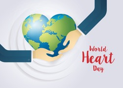 World heart day illustration concept. World Planet Earth With Heart Shape, Hands Holding A Heart Vector, Hand embrace, Hug the Globe, Happy Earth Day, Abstract heartbeat Background
