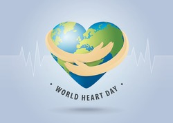 World heart day illustration concept. World Planet Earth With Heart Shape, Hands Hug the Globe, Heart with hand embrace, Happy Earth Day, Abstract heartbeat Background, Stethoscope Sign