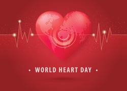 World heart day illustration concept. World Planet Earth With Heart Shape, Red Heart Shaped World, Abstract heartbeat Background, Heart wave Sign, Hug the Globe, Happy Earth Day,