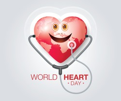 World heart day illustration concept. World Planet Earth With Heart Shape, Red heart smile with Stethoscope Sign, Smiling happy globe world, Happy Earth Day, Abstract heartbeat Background,