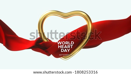 World Heart Day. Realistic golden heart frame and silky red fabric. Vector illustration. Medical awareness day concept