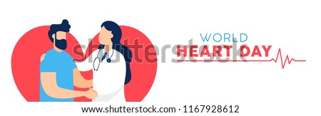 World Heart Day web banner for health and medicine awareness. Doctor checkup illustration with male patient. EPS10 vector.