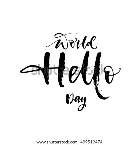 world hello day postcard hand