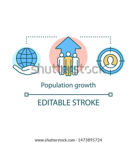 World human population growth concept icon. Overpopulation idea thin line illustration. Increasing number of individuals. Global demographic problem. Vector isolated outline drawing. Editable stroke