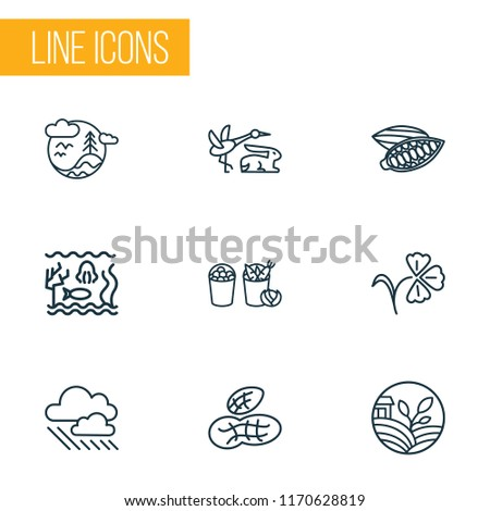 world icons line style set with