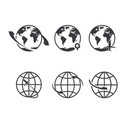 World icons set. Earth globe map for internet or commerce tourism vector