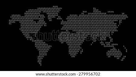 world in digital map vector