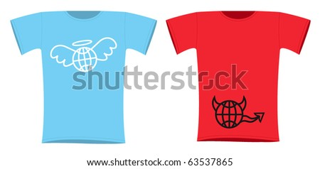 World in heaven and hell t-shirt design - stock vector