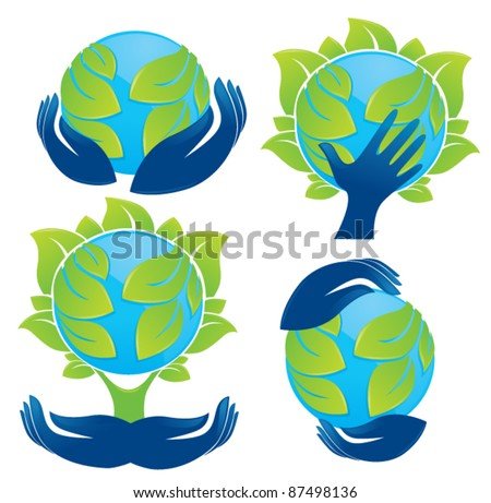 world in your hands vector concept of ecology and protection