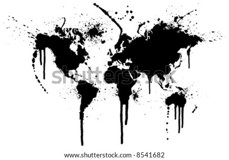 World ink splatter vector illustration. Original world map trace with grunge ink splatters.