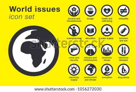 world issues icons set