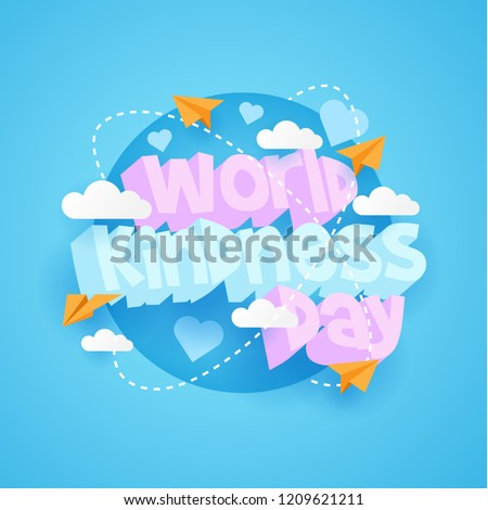 world kindness day with 3d text and blue color