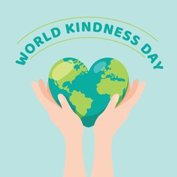 World kindness day with hands holding heart shaped planet.13 November.
