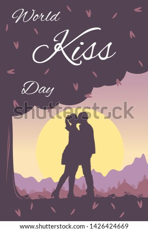 world kissing day vector card