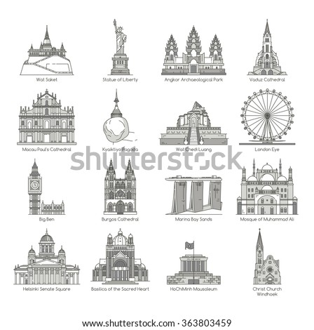 world landmark icon set   eps10