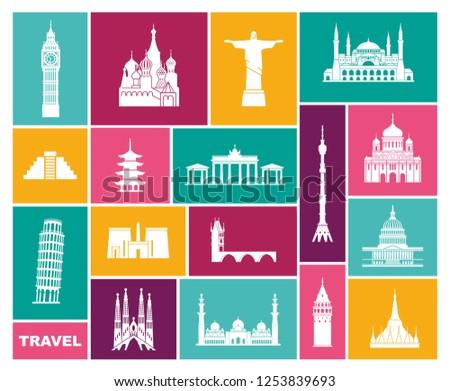 World Landmark Icon Set. Flat travel icons
