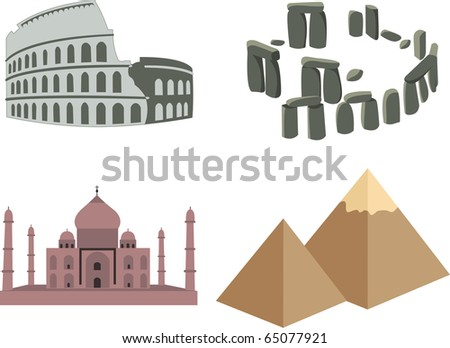 Landmarks Vector World Landmarks Stock Vector