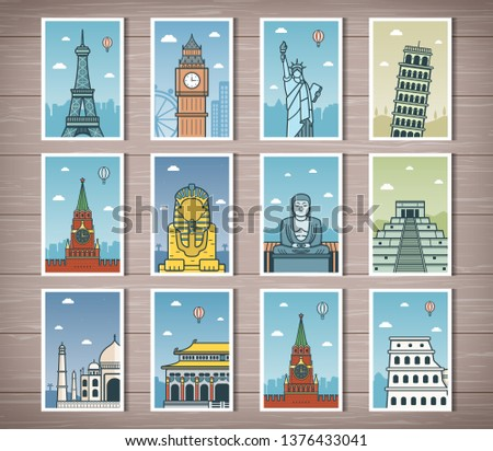 World landmarks collection. Travel and Tourism. Vector illustration