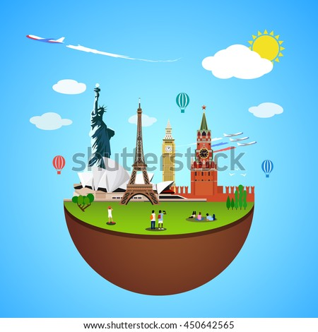 world landmarks concept vector