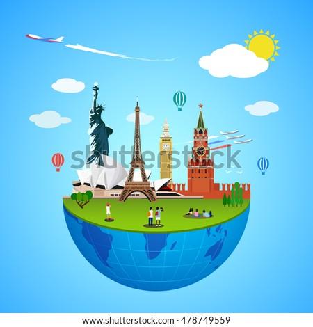 world landmarks concept vector