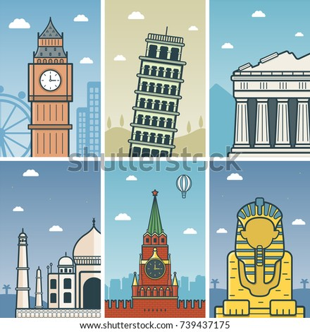 World Landmarks design with Cities skylines. London, Pisa, Athens, Agra, Moscow and Giza cities skylines design with landmarks. Vector