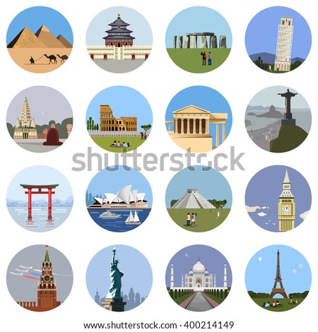 World landmarks flat icon set. Vector travel app web site monument sign. Egypt pyramid, Stonehenge, Colosseum, Italy Pantheon, sydney theater, statue of liberty, Taj Mahal, eiffel tower, Pisa, Big Ban