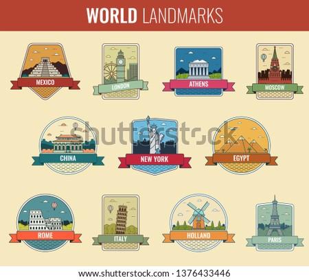 World landmarks icon set. Travel and Tourism. Vector illustration