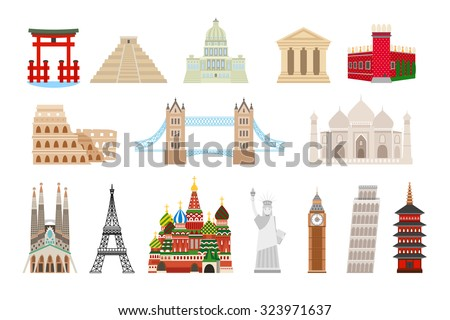 world landmarks icons in flat