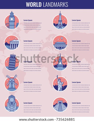 World landmarks Infographics set. Travel and Tourism concept. Vector illustration