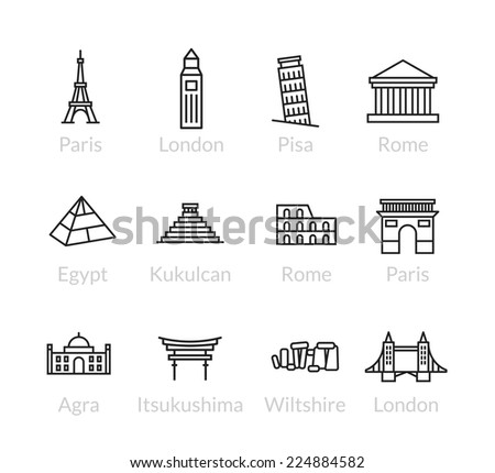 World landmarks outline icons abstract vector set