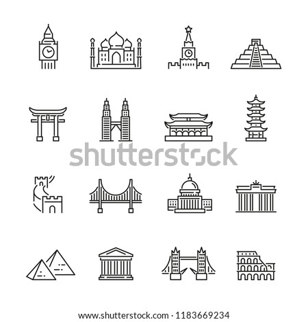 World landmarks related icons: thin vector icon set, black and white kit