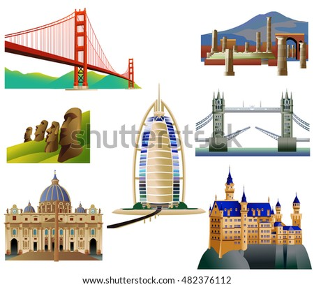 world landmarks  set 3 vector