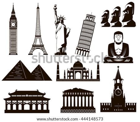 world landmarks silhouettes