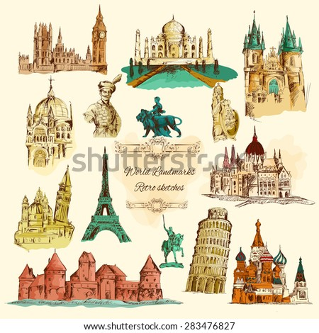 World landmarks sketch colour vintage icons set isolated vector illustration