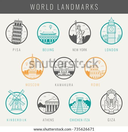 World landmarks. Travel and Tourism. Landmarks icons set. Vector illustration