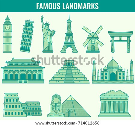 World landmarks. Travel and Tourism. Vector illustration