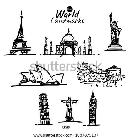 world landmarks vector hand