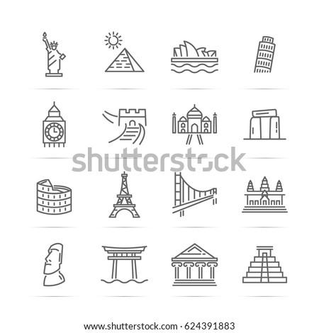 world landmarks vector line icons, minimal pictogram design, editable stroke for any resolution