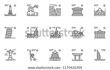 World Landmarks Vector Line Icons Set. Editable Stroke. 48x48 Pixel Perfect.