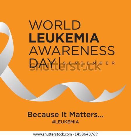 World leukemia awareness day on the orange background. Word leukemia cancer day awareness poster.Vector illustration EPS.8 EPS.10
