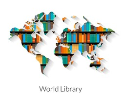 World library flat contour illustration with shadow on white background.