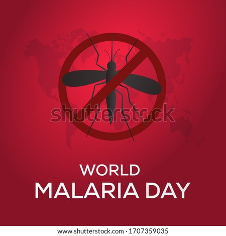 world malaria day with mosquito stop sign and world map vector Foto d'archivio ©