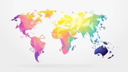 World map abstract geometric shapes, low poly graphic. Vector illustration