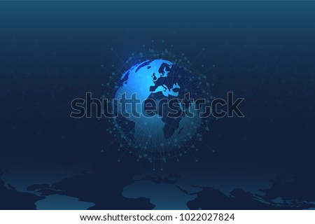 World Map abstract technology. Polygonal Space Background with Connecting Dots and Lines. Global Business Concept. Technological Connectivity. Exploration of Global Link. Real World Connection.