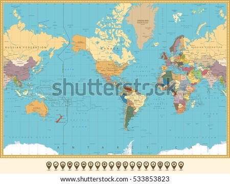 Mapa de amrica central con los pases coloreados descargue world map america centered and map pointers retro color all elements are separated in gumiabroncs Gallery
